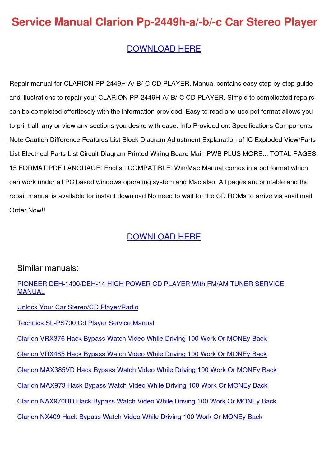 Service Manual Clarion Pp 2449h A B C Car Ste By Desmondcochran Issuu Pioneer Deh P3000 Wiring Diagram