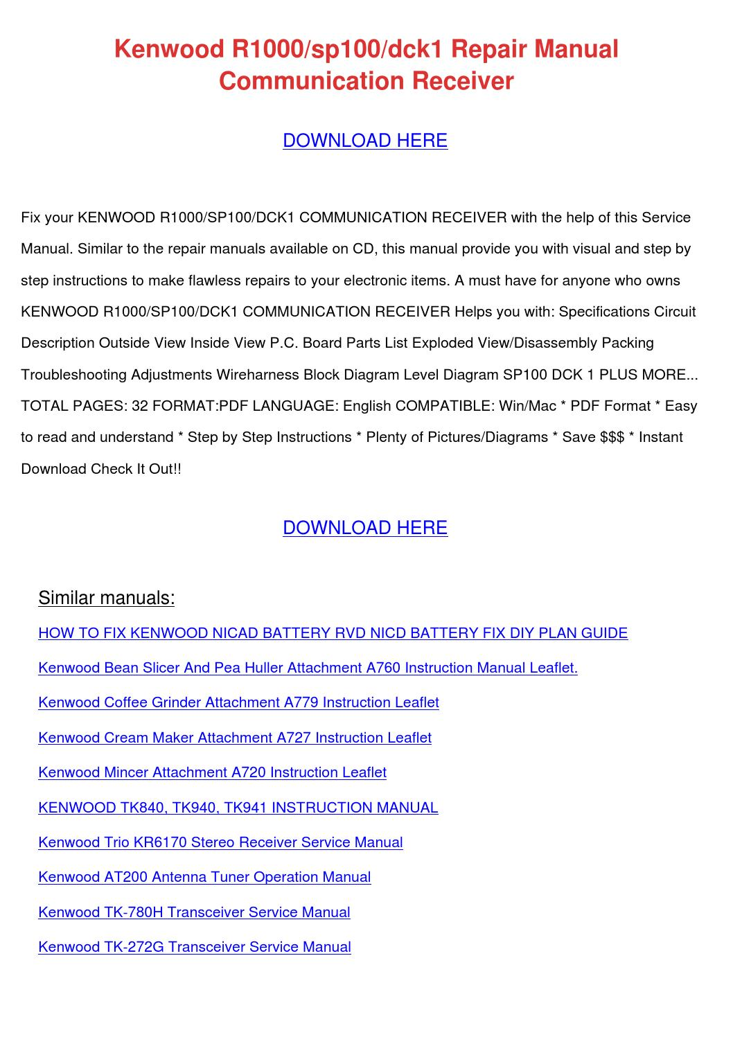Kenwood R1000sp100dck1 Repair Manual Communic by DesmondCochran ...