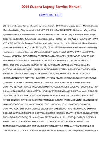 2004 Subaru Legacy Service Manual by FranklinEnnis - issuu