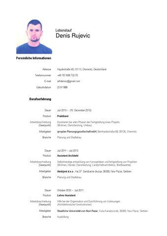 Lebenslauf - Denis Rujevic by Denis Rujevic - issuu