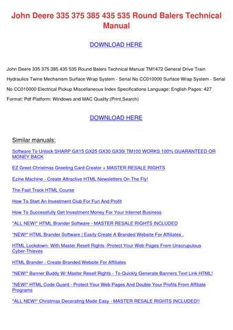 John deere 335 375 385 435 535 round balers t by deenachristenson john deere 335 375 385 435 535 round balers technical manual download here fandeluxe Images