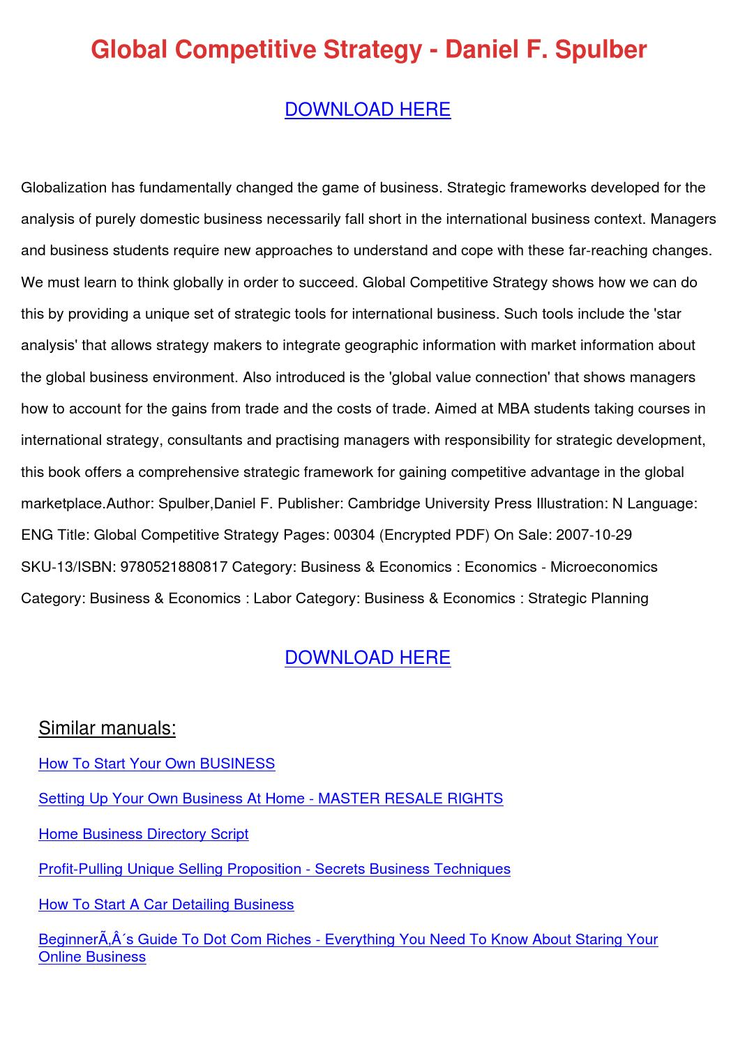 Global Competitive Strategy Daniel F Spulber by JoelHibbard