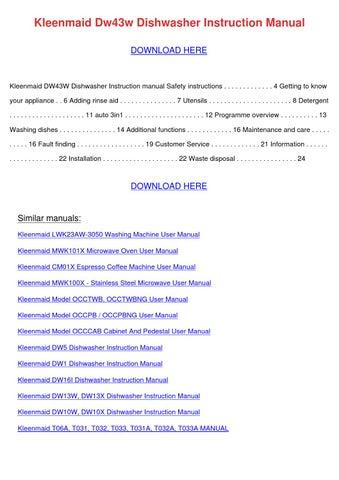 Kleenmaid Dw43w Dishwasher Instruction Manual by PreciousPaulson ...