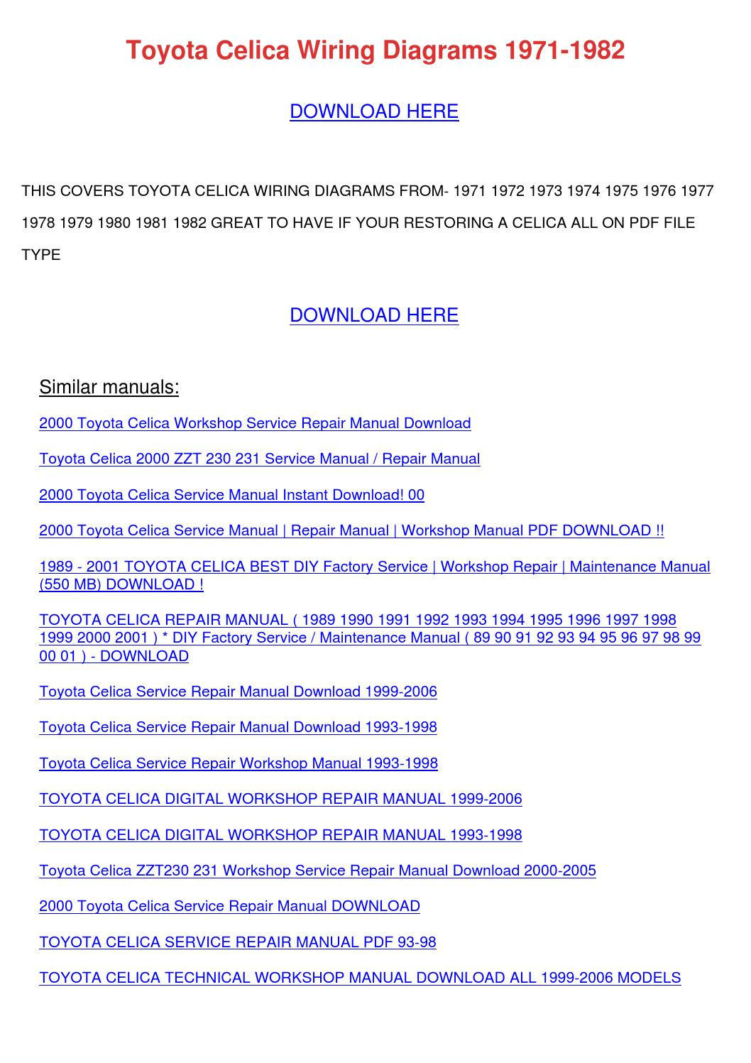 Diagram Toyota Celica Wiring Diagrams 1971 1982 Full Version Hd Quality 1971 1982 143469 Vincentescrive Fr
