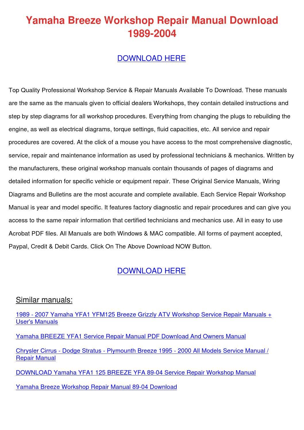 Yamaha Breeze Workshop Repair Manual Download by ... on