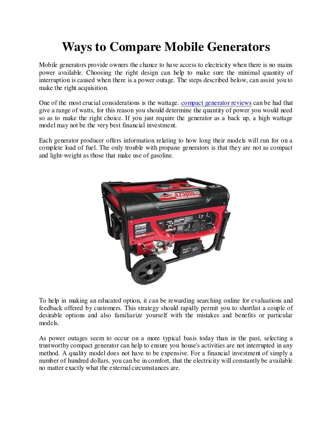 Ways To Compare Mobile Generators By Espressojack Issuu