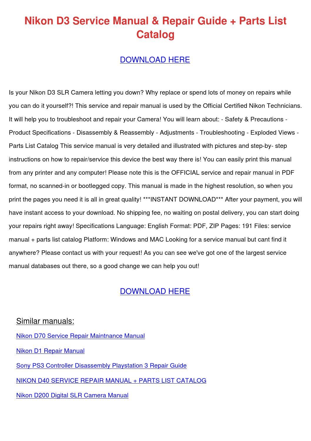 Nikon D3 Service Manual Repair Guide Parts Li by PatriciaOrton - issuu