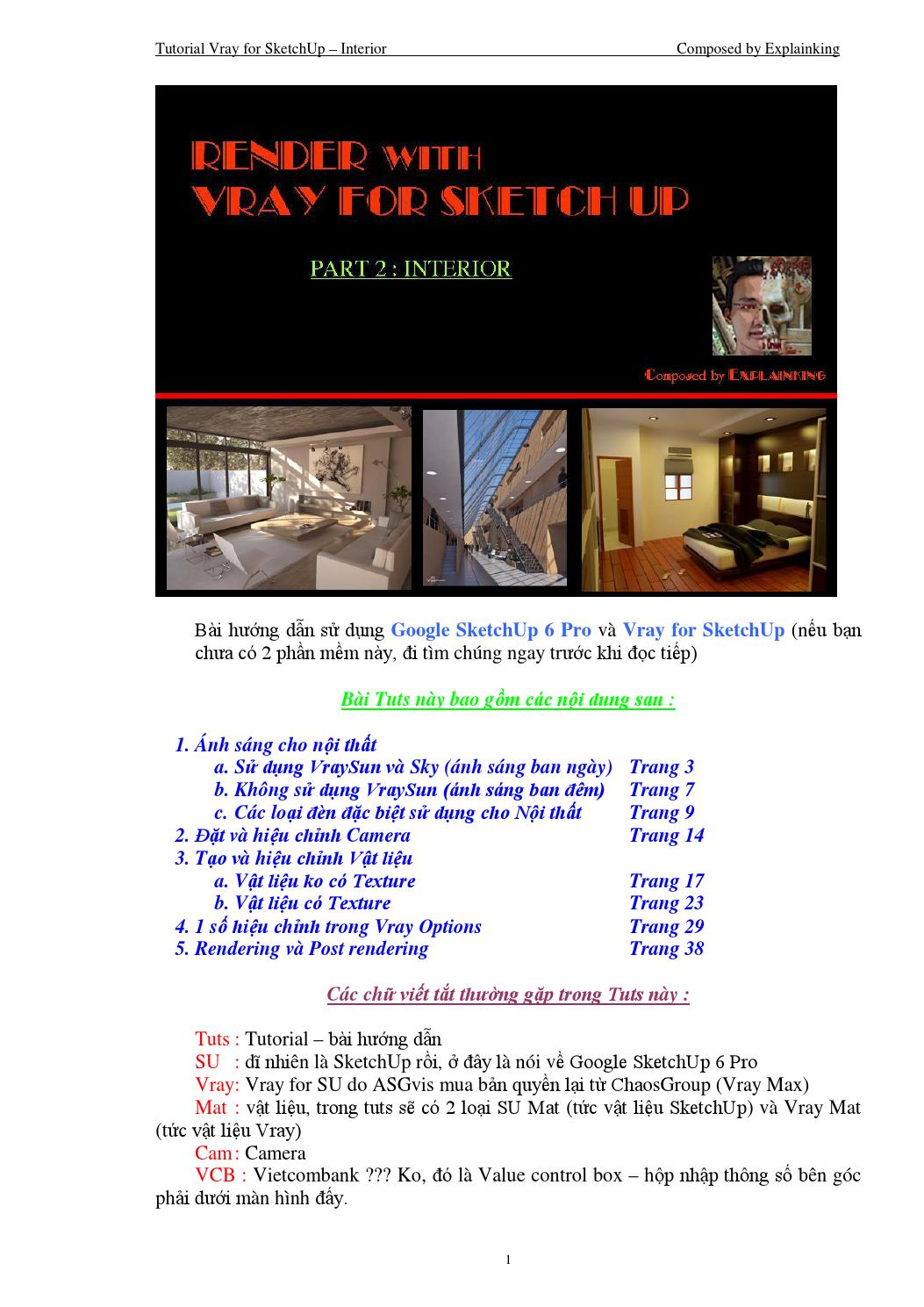 Vray4SketchUp Tutorial_Interior Settings_Vietnamese by Explainking Nguyễn Hoàng Vũ - issuu