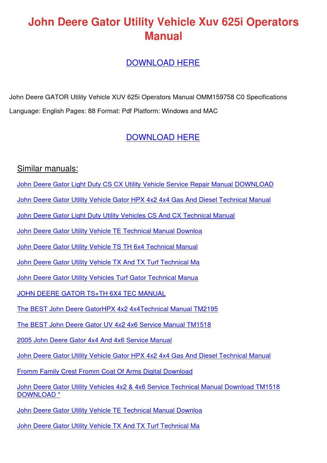 John Deere Gator Te Wiring Diagram