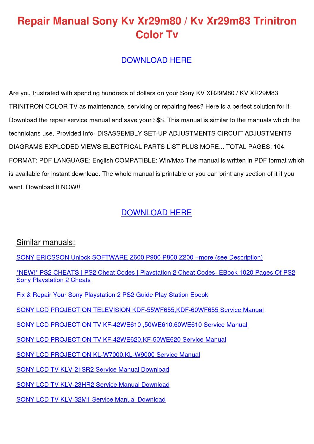 repair manual sony kv xr29m80 kv xr29m83 trin by kareemhobson issuu rh issuu com Sony Rear Projection TV Models Projection Television Brand