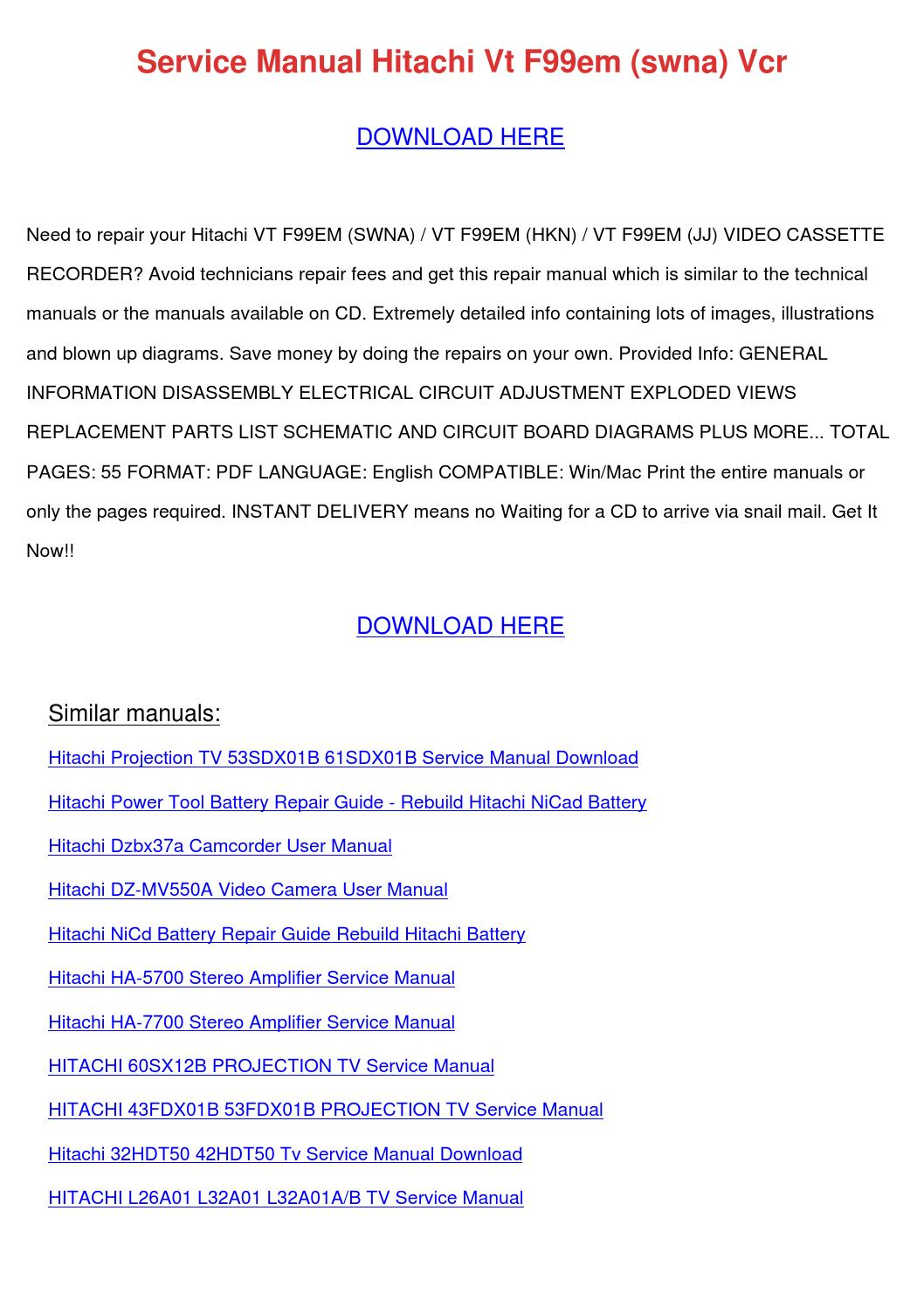 Service Manual Hitachi Vt F99em Swna Vcr by DenishaClick - issuu