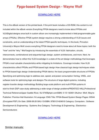 Fpga Based System Design Wayne Wolf By Kareemhobson Issuu
