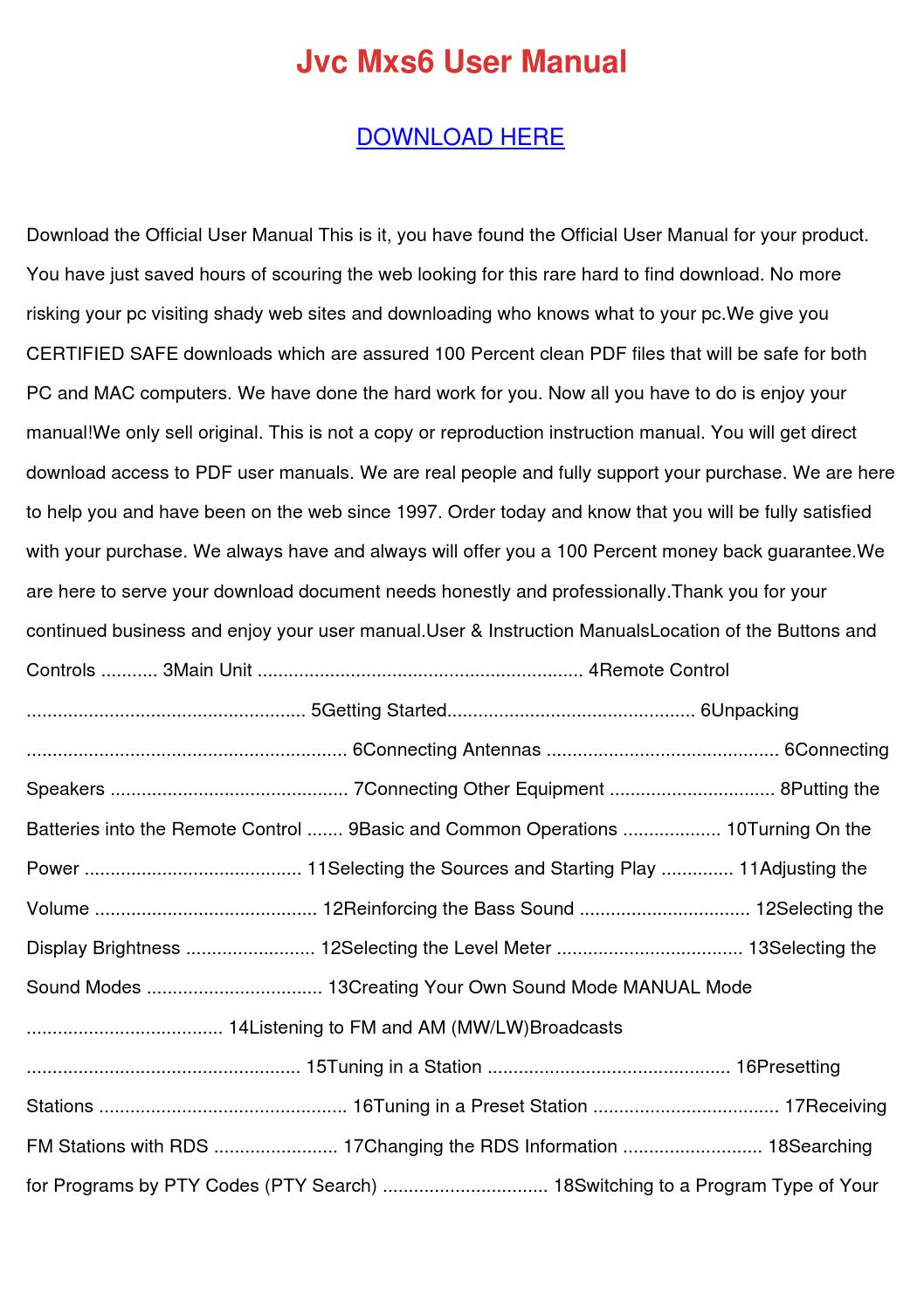 Jvc Mxs6 User Manual by TrudySweet - issuu