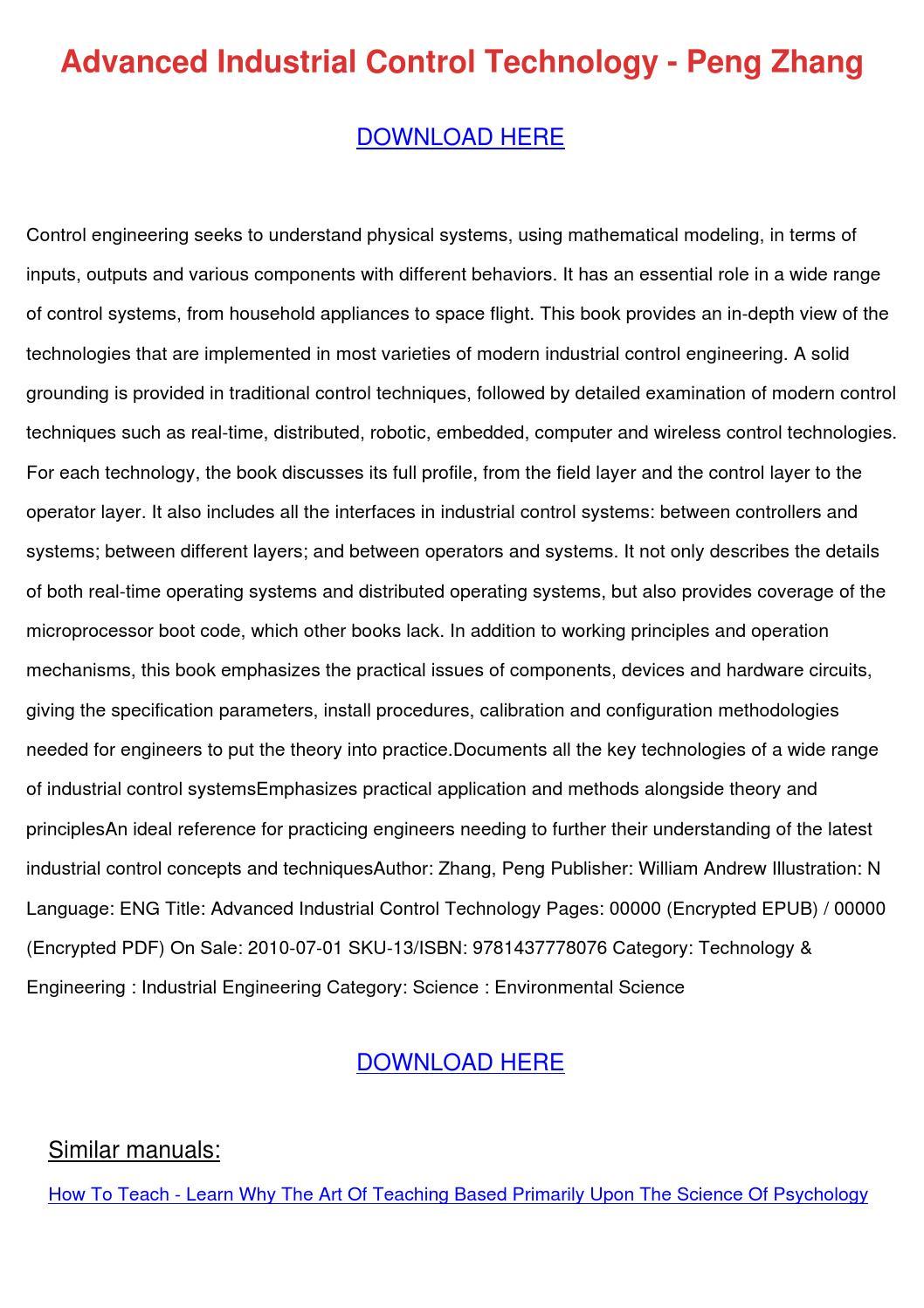 Advanced Industrial Control Technology Peng Z by LisaLeblanc - issuu