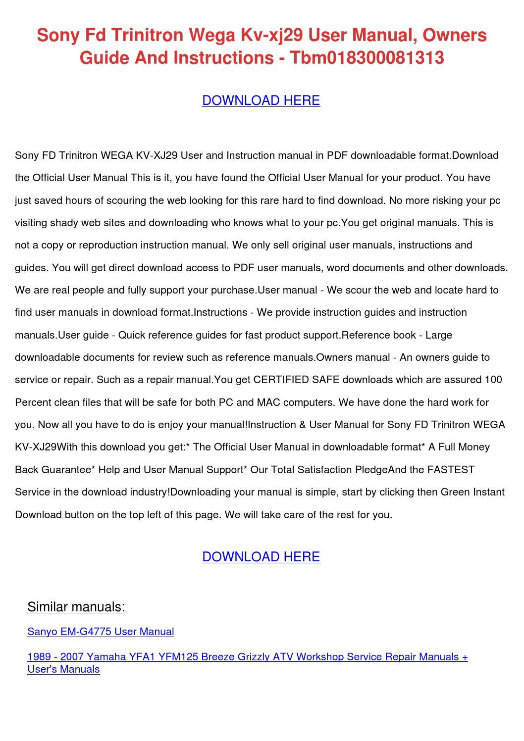 Sony Fd Trinitron Wega Kv Xj29 User Manual Ow by LisaLeblanc - issuu