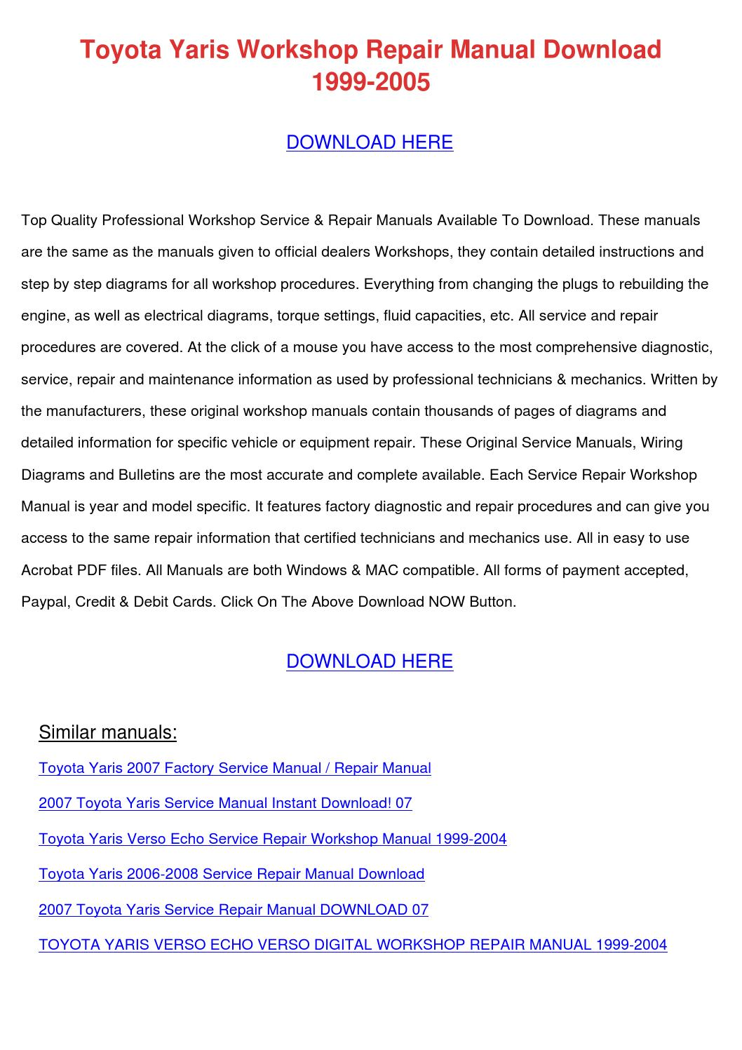 Toyota Yaris Workshop Repair Manual Download By Lisaleblanc Issuu Belta Wiring Diagram