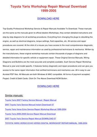 toyota yaris workshop repair manual download by lisaleblanc issuu