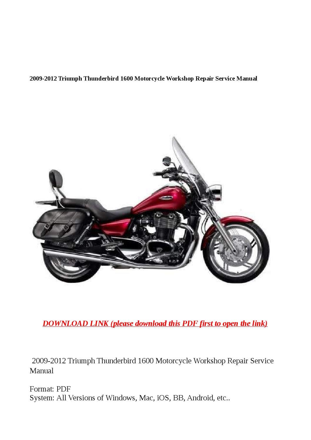 2009 2012 triumph thunderbird 1600 motorcycle workshop repair service manual by zrbhtdryjun6