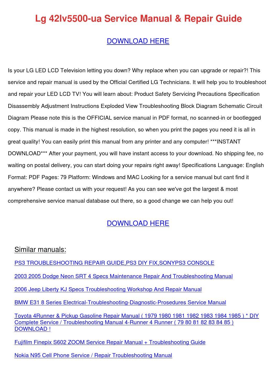 Lg 42lv5500 Ua Service Manual Repair Guide by ManuelMartell - issuu
