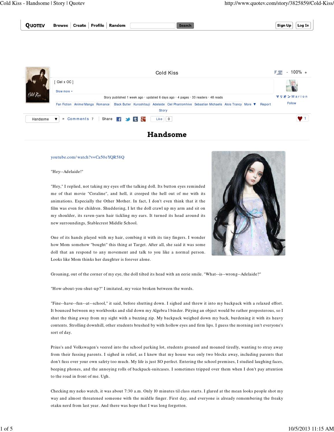 Cold kiss handsome story quotev by Dean Dochterman - issuu