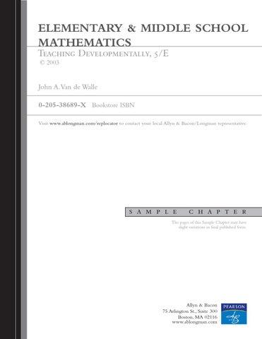 elementary and middle school mathematics teaching developmentally pdf