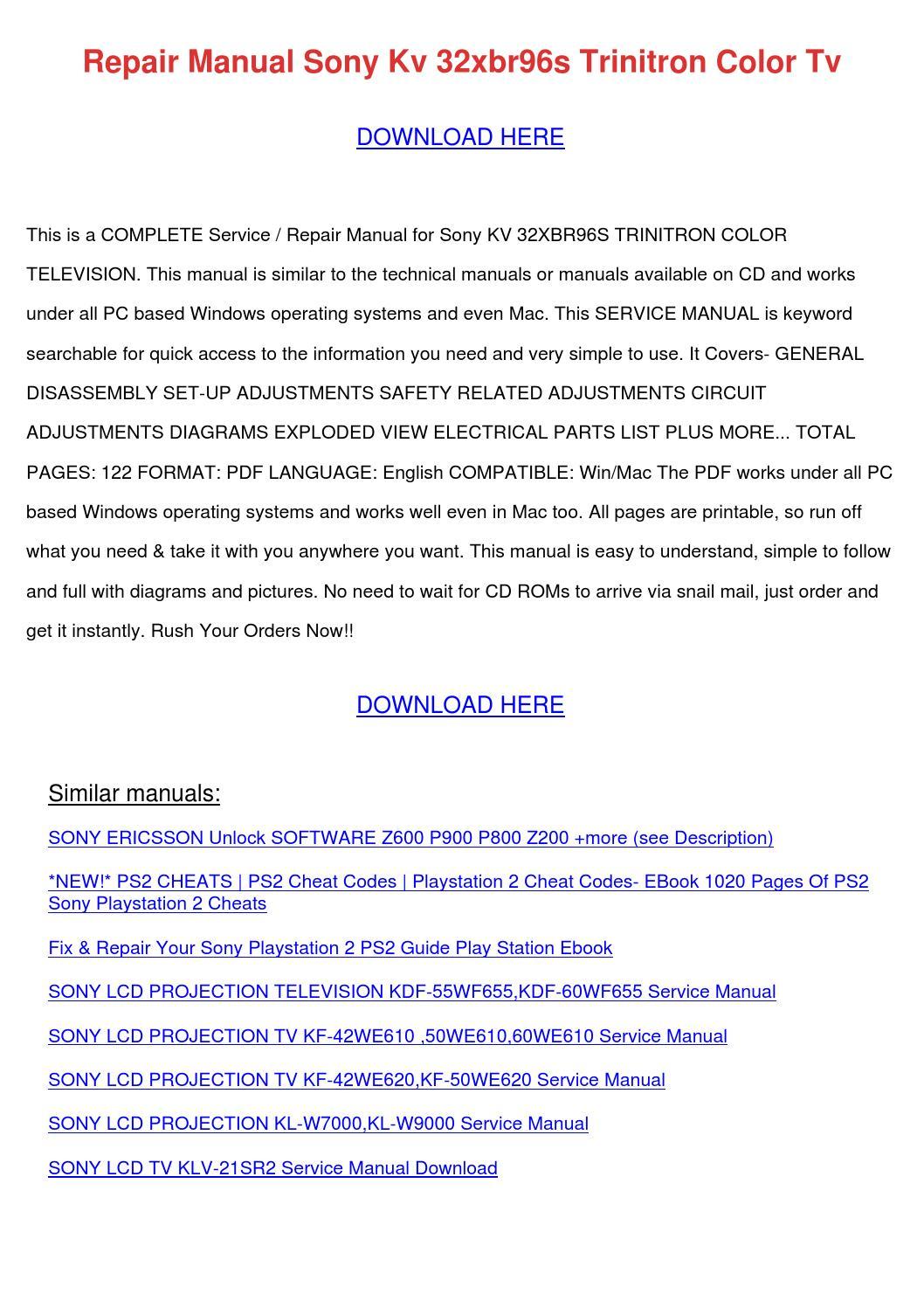 Repair Manual Sony Kv 32xbr96s Trinitron Colo By
