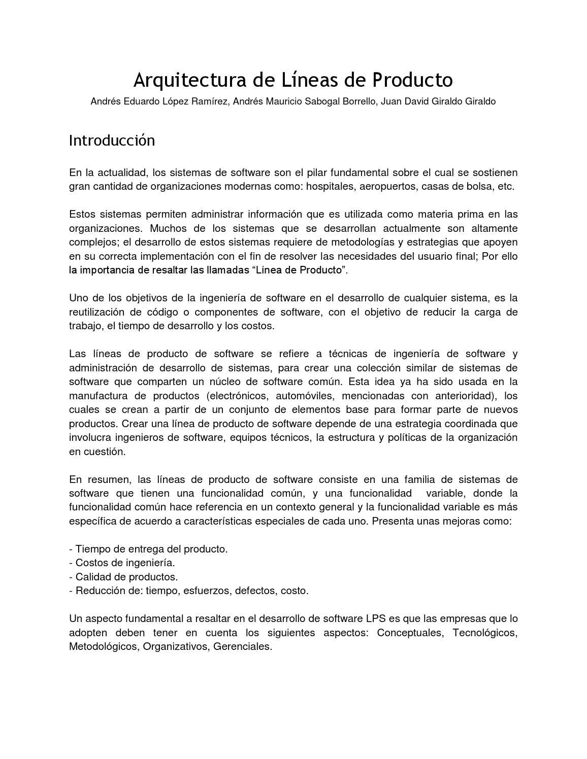 Arquitectura de Líneas de Productos de Software by Andres Mauricio ...