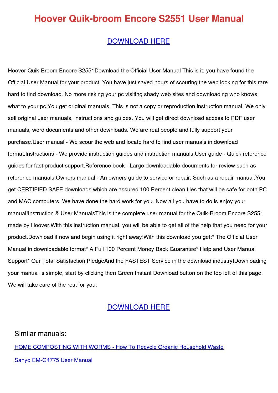 Hoover Quik Broom Encore S2551 User Manual By Wendytalbott Issuu