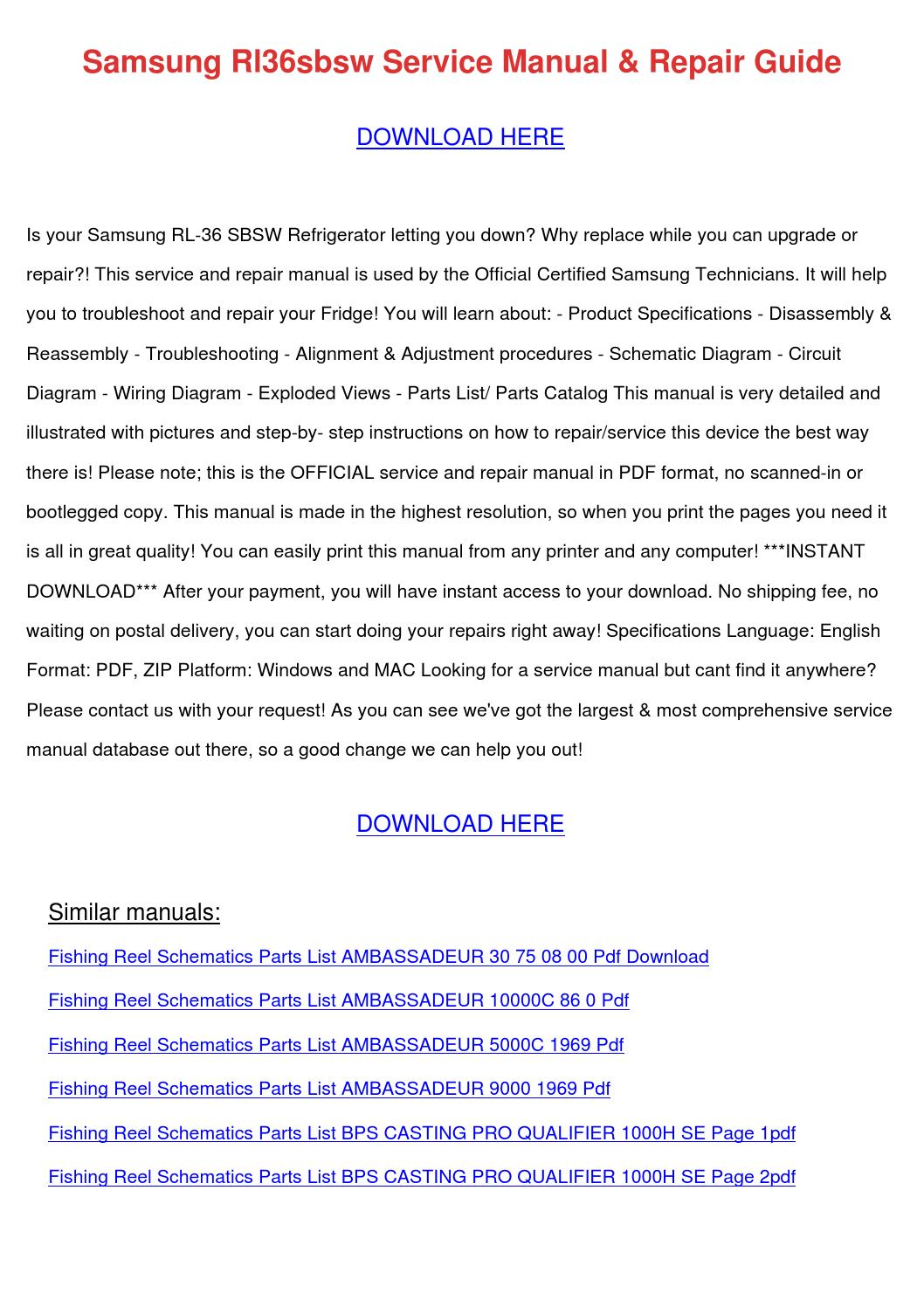 Quantum Reel Parts Diagram | Samsung Rl36sbsw Service Manual Repair Guide By Wendytalbott Issuu
