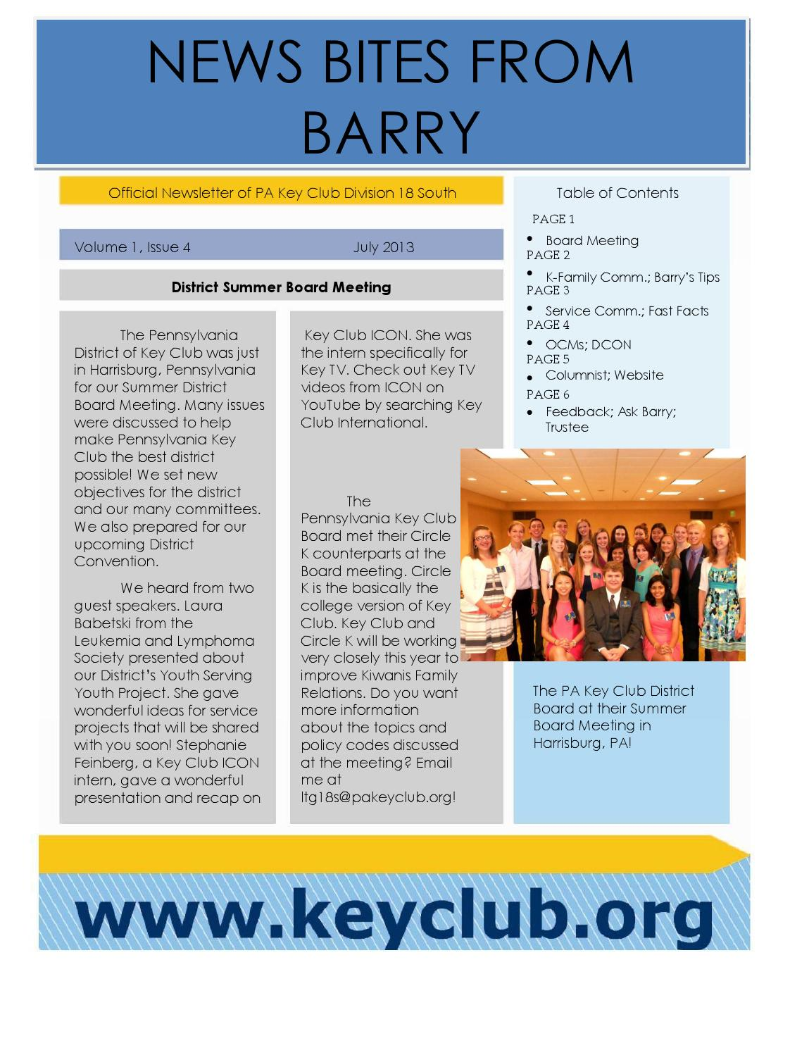 PA Key Club Division 18S July Newsletter by PA Division 18