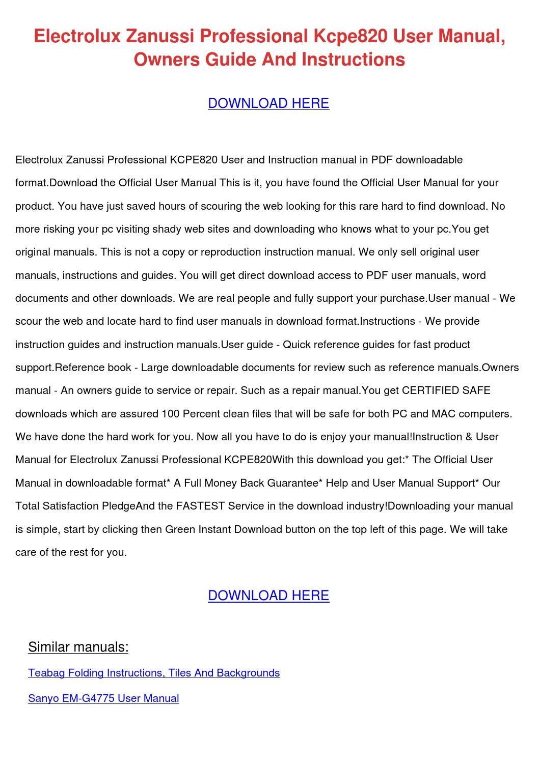 Electrolux Zanussi Professional Kcpe820 User by LeannaLafferty - issuu