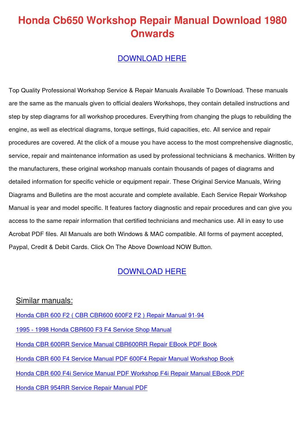 honda cb650 workshop repair manual download 1