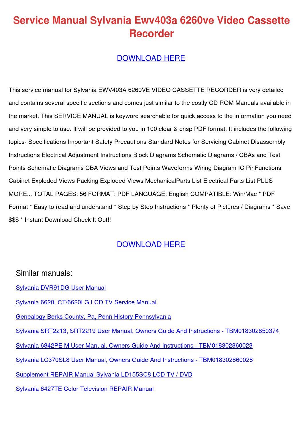 Service Manual Sylvania Ewv403a 6260ve