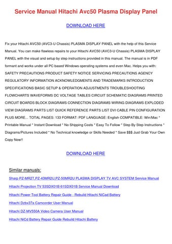 service manual hitachi avc50 plasma display p by coreyburr issuu rh issuu com Hitachi Plasma Repair Manual Hitachi Plasma Repair Manual