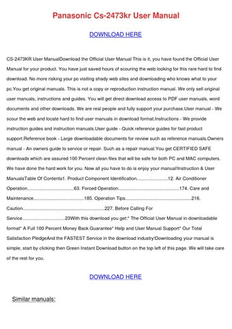 panasonic cs 2473kr user manual by alanweatherford issuu rh issuu com
