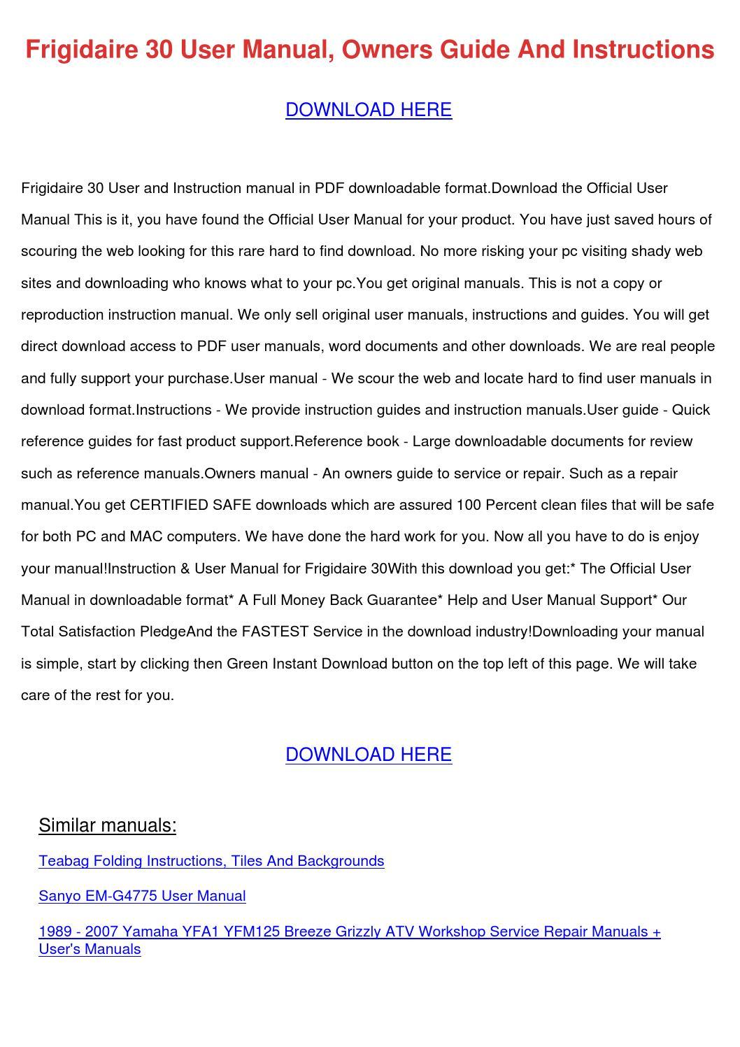 Ffef3052td Frigidaire 30 U0026quot Manual Guide