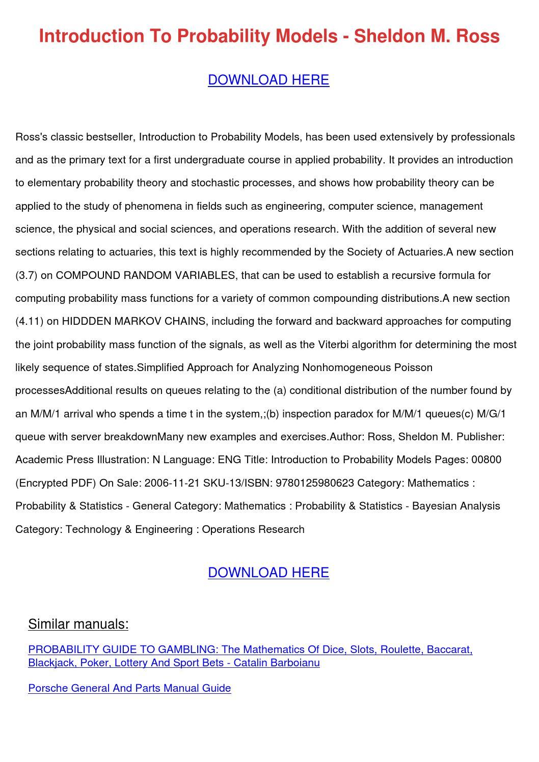 Introduction To Probability Models Sheldon M by KayleeIbarra - issuu