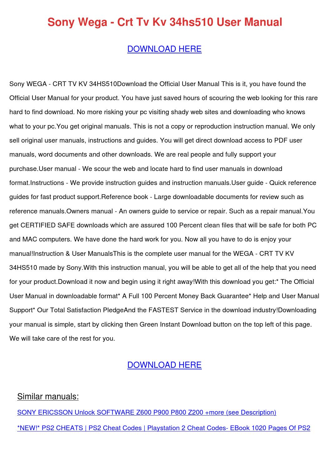 Sony Wega Crt Tv Kv 34hs510 User Manual by GeriFong - issuu