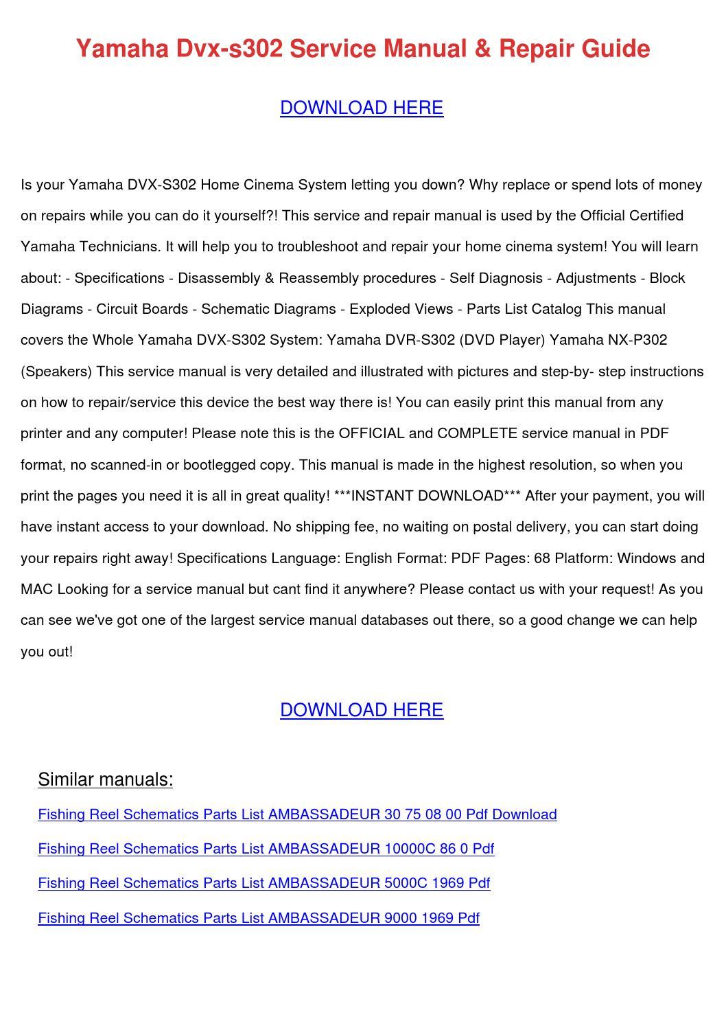 Yamaha Dvx S302 Service Manual Repair Guide By