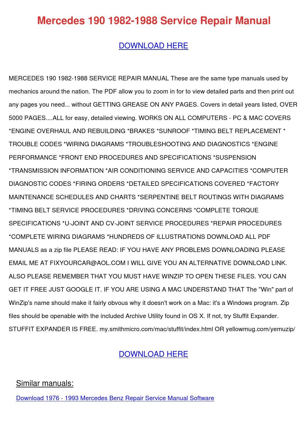 Mercedes 190 1982 1988 Service Repair Manual By Preciousperryman Issuu 2001 Cl600 Fuse Diagram