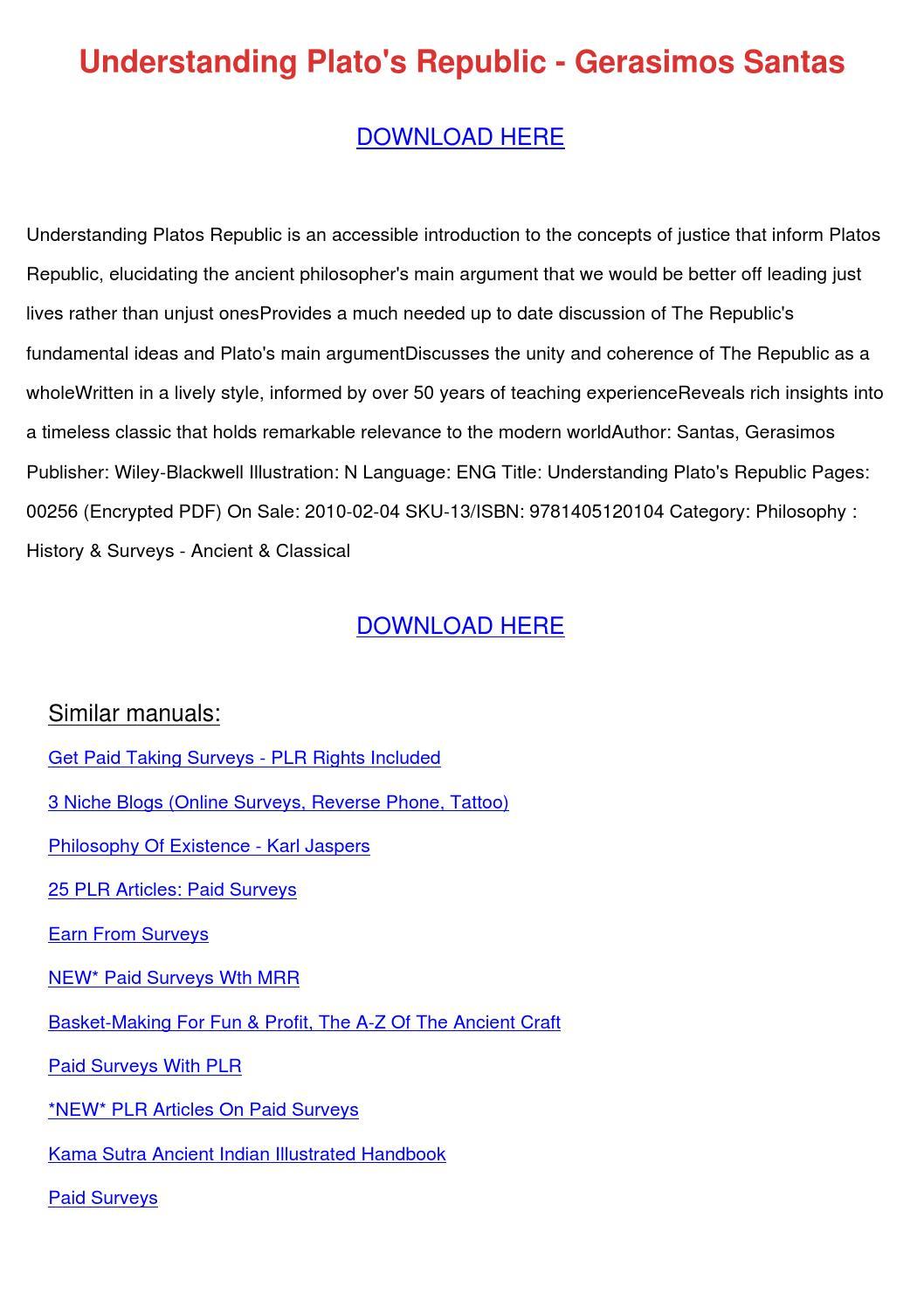 Understanding Platos Republic Gerasimos Santa by ...