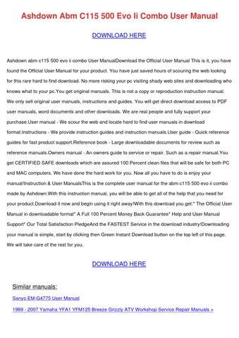 Ashdown Abm C115 500 Evo Ii Combo User Manual by ReneePriest - issuu