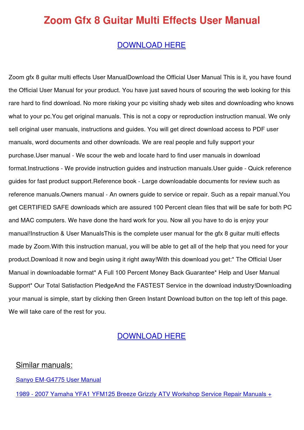 Zoom Gfx 8 Guitar Multi Effects User Manual by ReneePriest - issuu