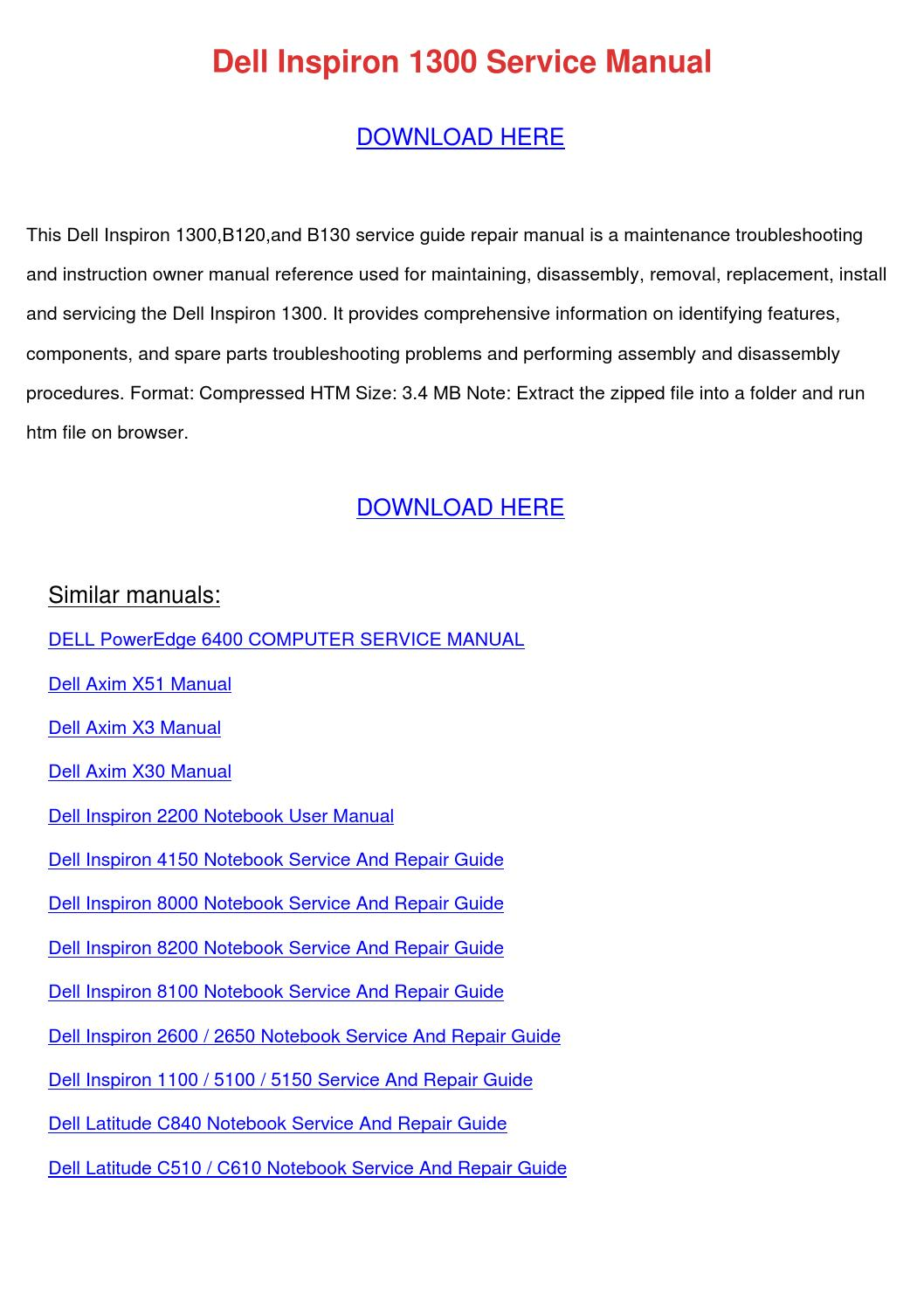 Dell Inspiron 1300 Service Manual by ReneePriest - issuu