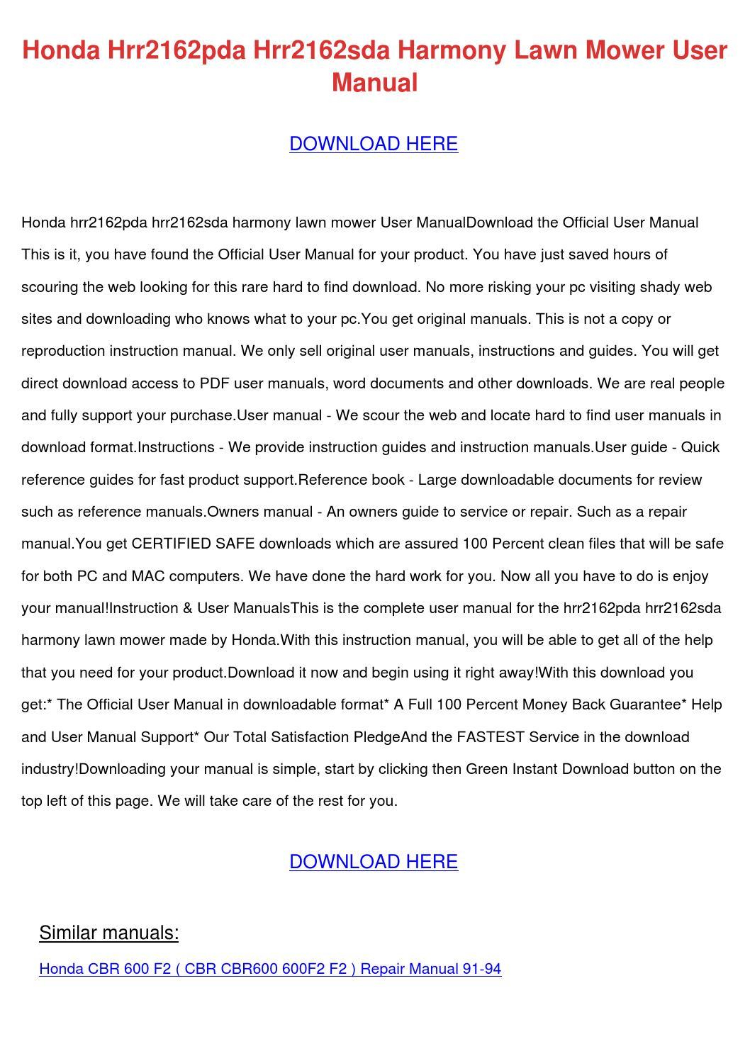 Honda Hrr2162sda Service Manual