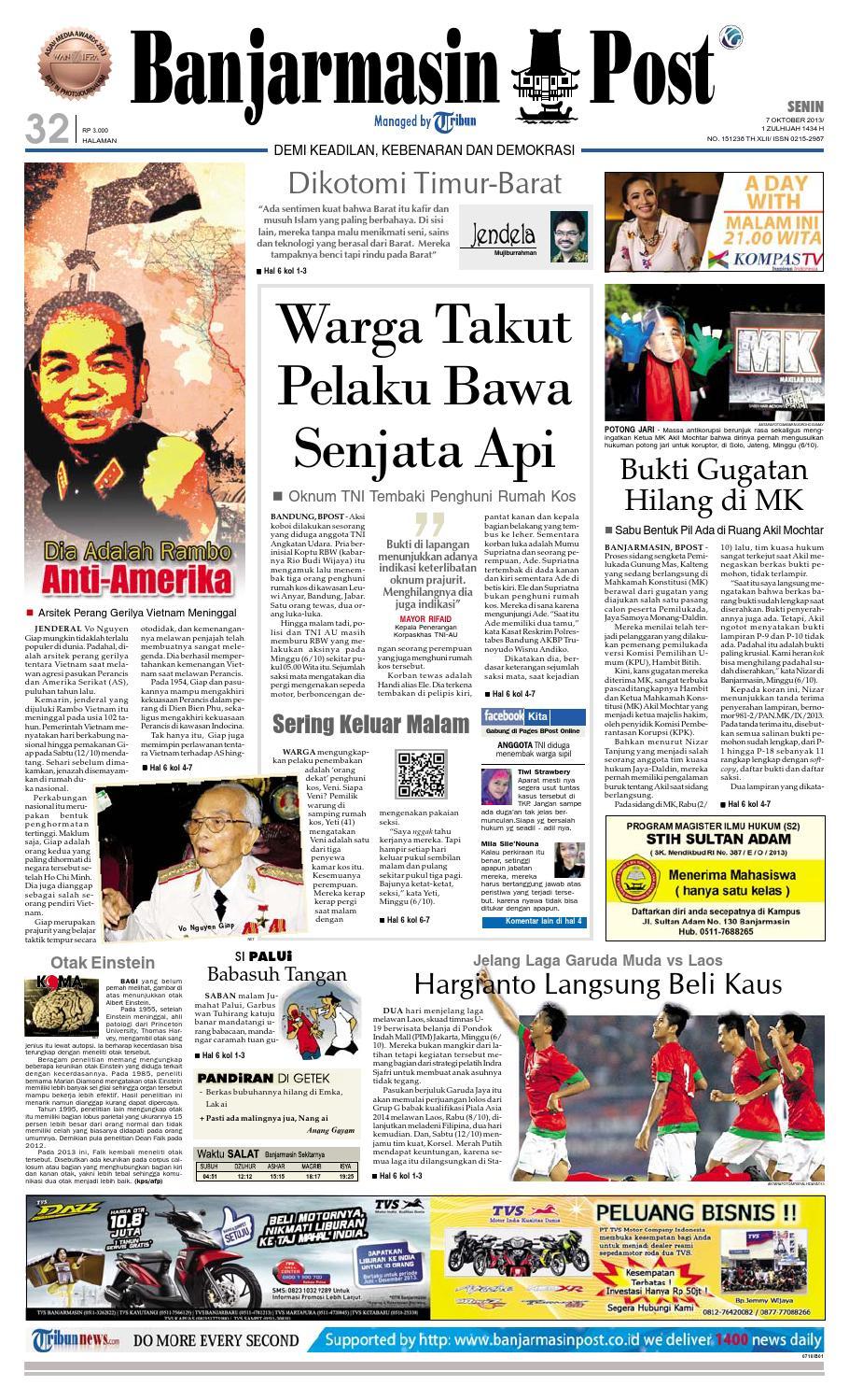Banjarmasin Post Senin 7 Oktober 2013 By Issuu Charger Warna Warni Merk Hasan Sj0048