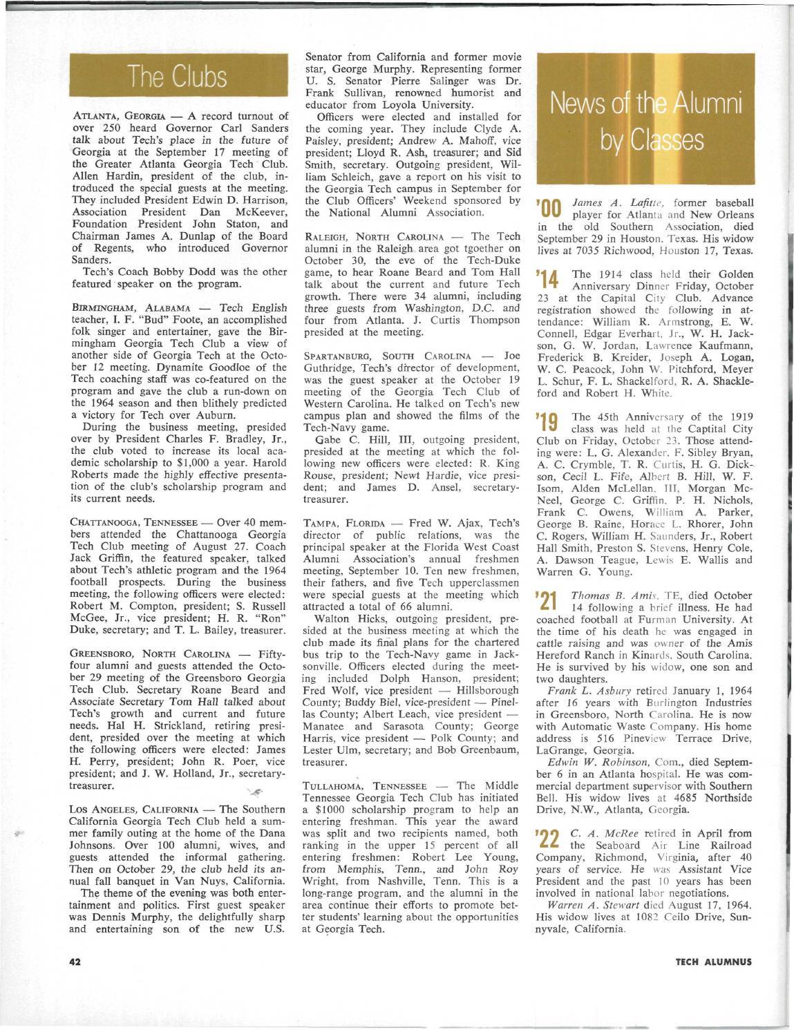 Georgia Tech Alumni Magazine Vol  43, No  3&4 1964 by