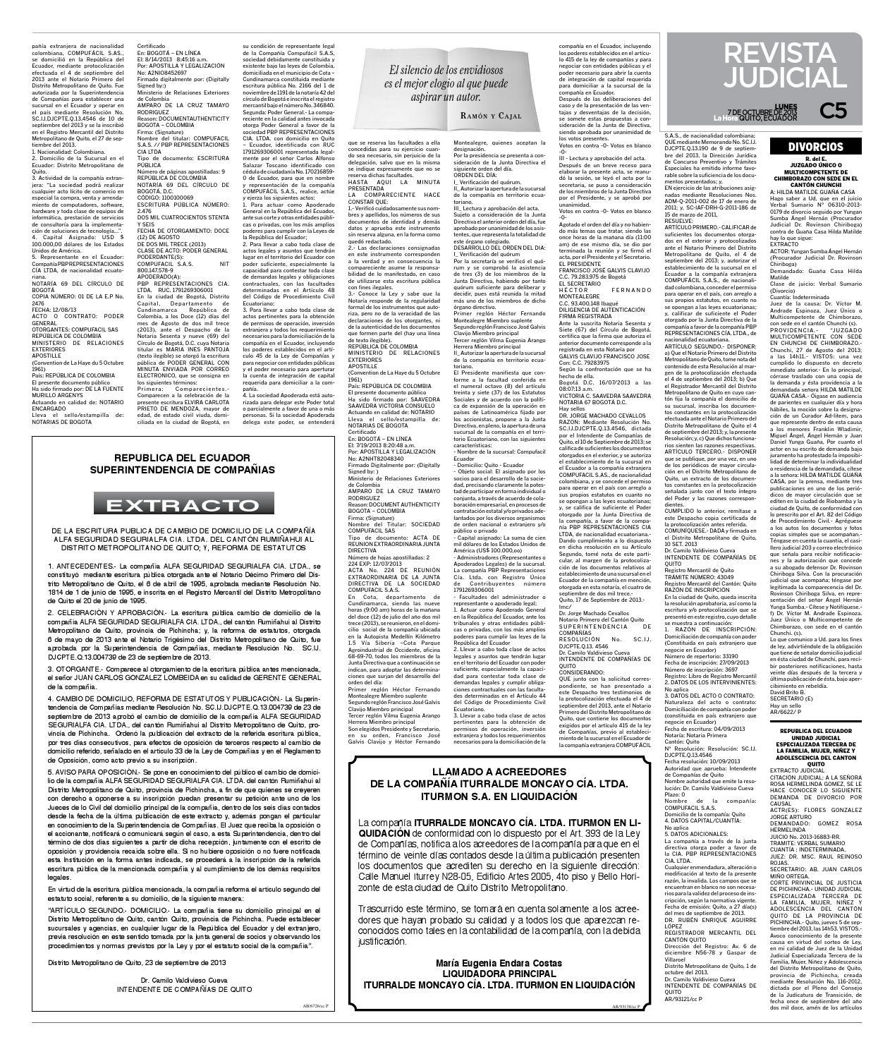 La Hora Revista Judicial 07 octubre 2013 by Diario La Hora Ecuador ...