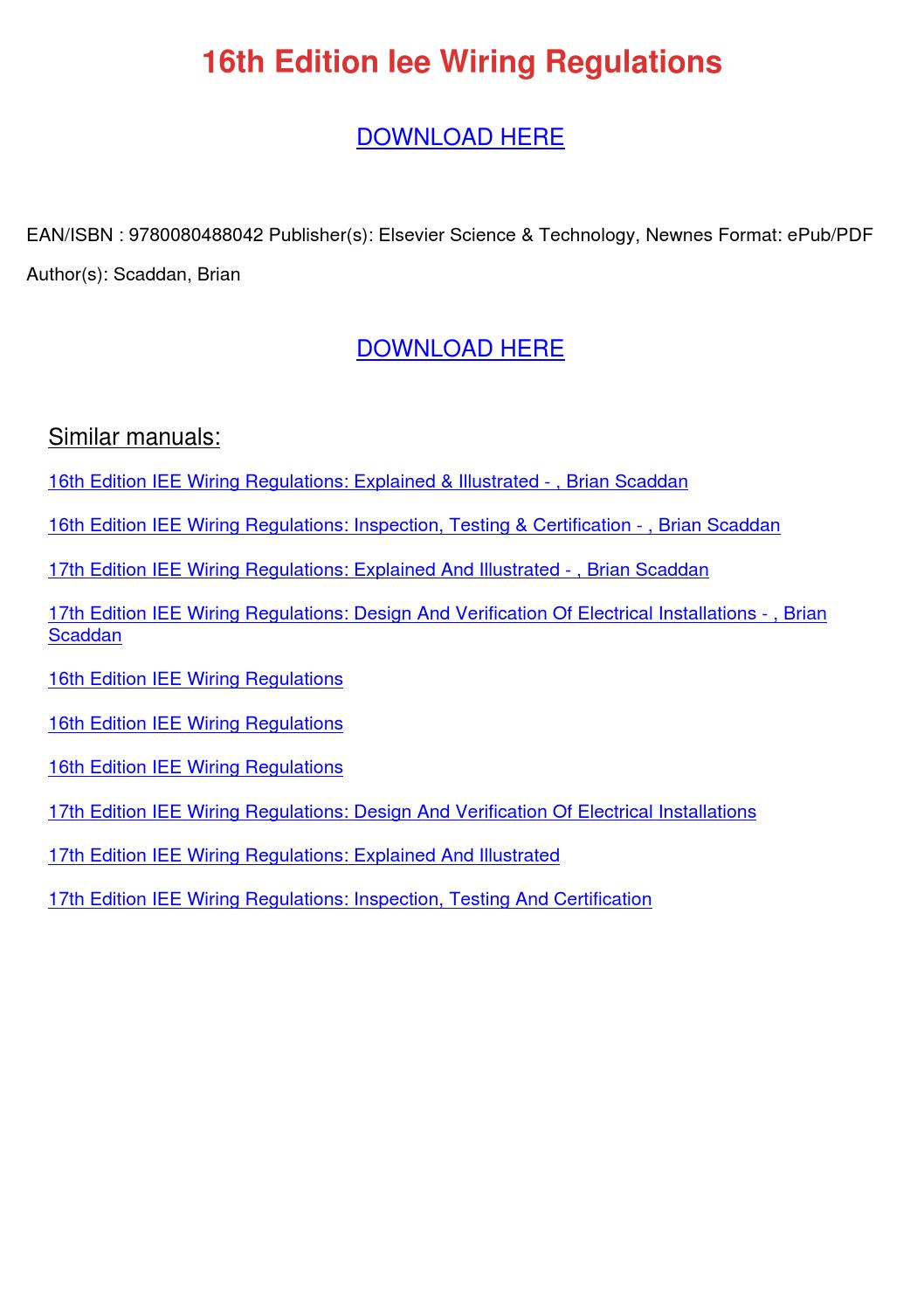 Peachy 16Th Edition Iee Wiring Regulations Inspection Testing Certification Wiring Database Wedabyuccorg