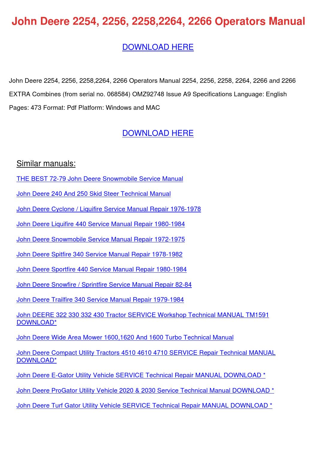 John Deere 2254 2256 22582264 2266 Operators by OdessaOntiveros ...